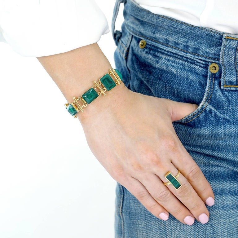 French Modern Malachite Gold Bracelet 8