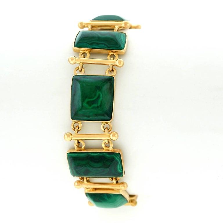 French Modern Malachite Gold Bracelet 9