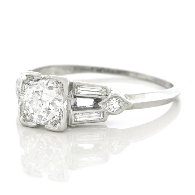 Art Deco Diamond Set Platinum Engagement Ring 3