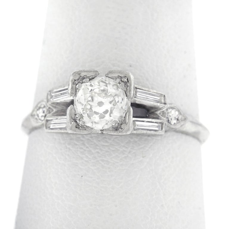 Art Deco Diamond Set Platinum Engagement Ring 8