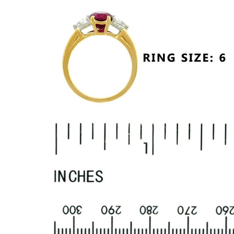 Oscar Heyman 1.89 Carat Ruby and Diamond Set Gold Ring For Sale 2