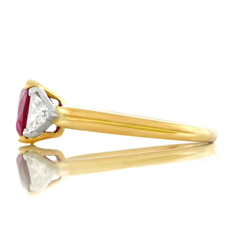 Oscar Heyman 1.89 Carat Ruby and Diamond Set Gold Ring For Sale 3