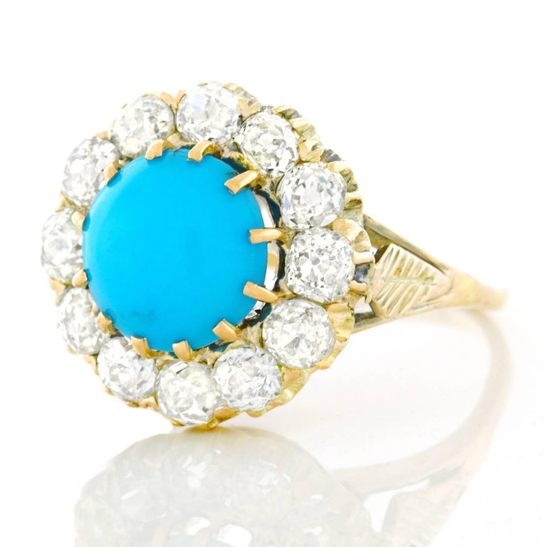 Antique Persian Turquoise and Diamond Ring in Gold In Excellent Condition For Sale In Litchfield, CT