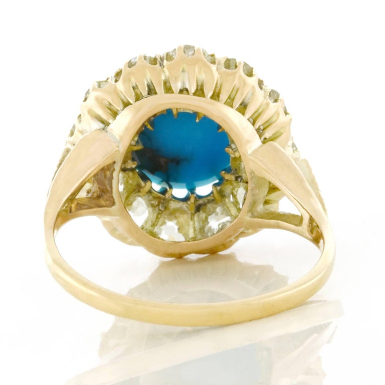 Antique Persian Turquoise and Diamond Ring in Gold For Sale 1