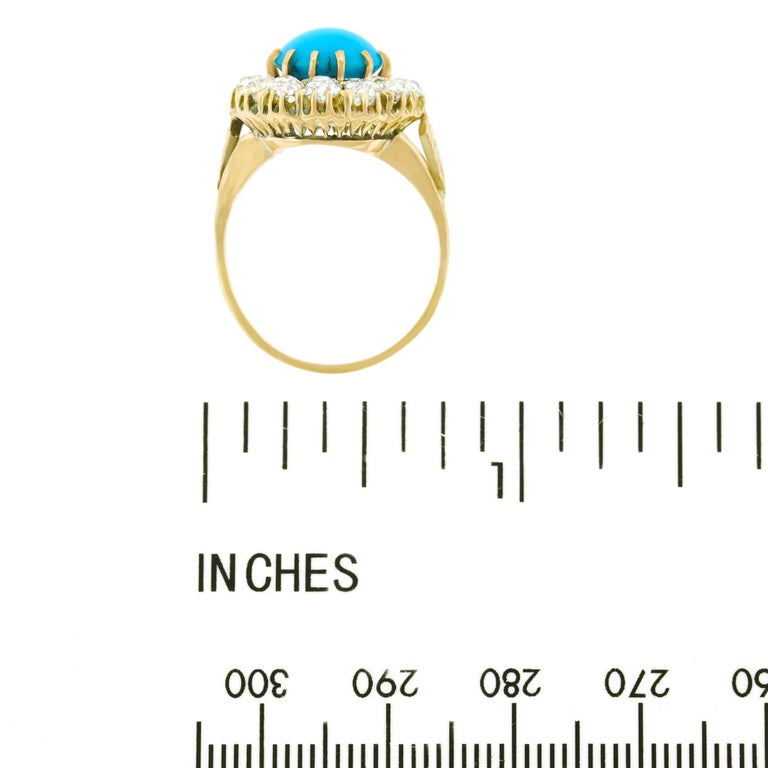 Antique Persian Turquoise and Diamond Ring in Gold For Sale 2