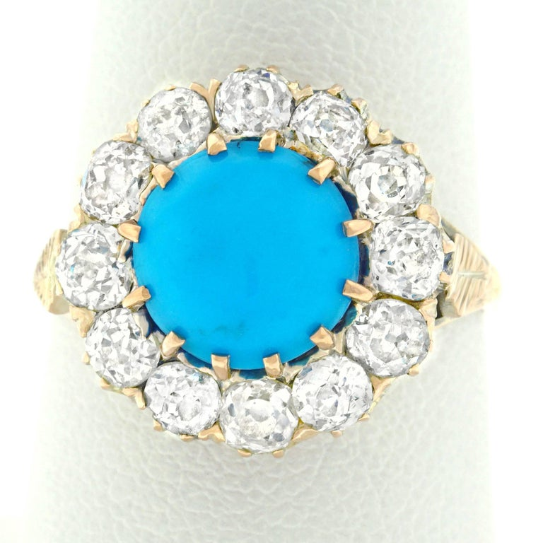 Antique Persian Turquoise and Diamond Ring in Gold For Sale 4