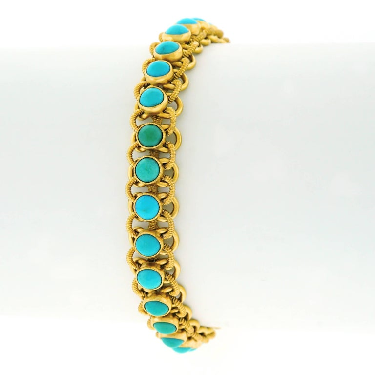 1960s Turquoise Set 22k Gold Bracelet In Excellent Condition For Sale In Litchfield, CT