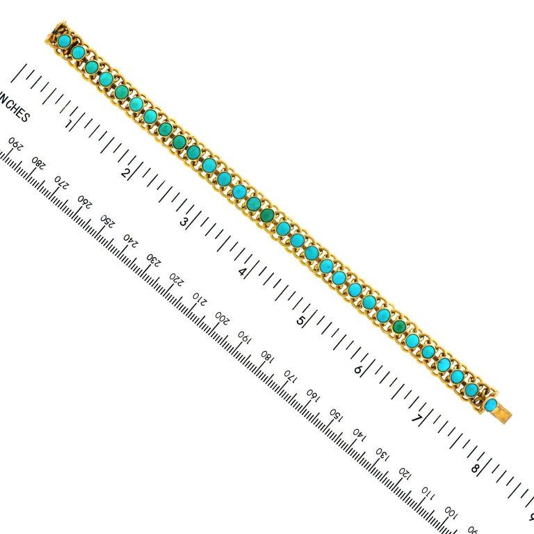 1960s Turquoise Set 22k Gold Bracelet For Sale 2