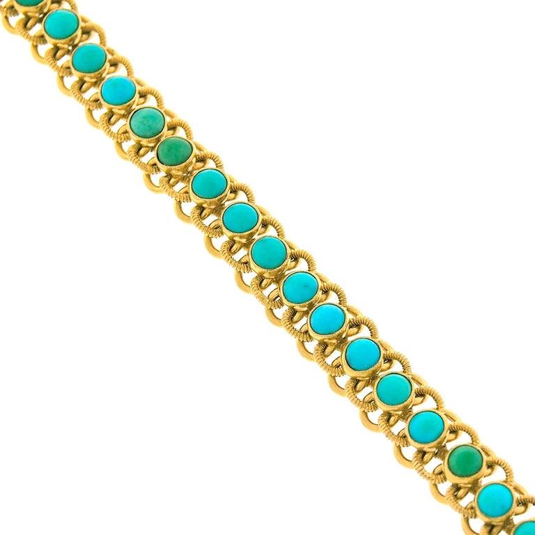 1960s Turquoise Set 22k Gold Bracelet For Sale 3