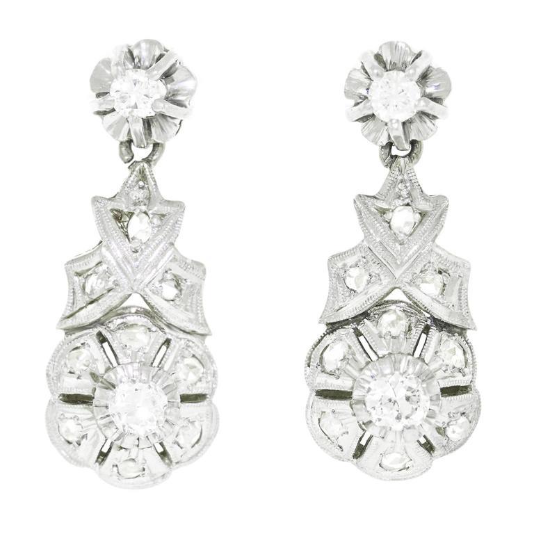 Art Deco Diamond Platinum over Gold Earrings