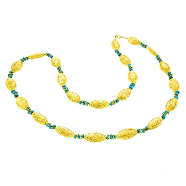 1960s Gold and Turquoise Necklace
