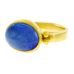 Archaic Motif Tanzanite Set High Karat Gold Ring