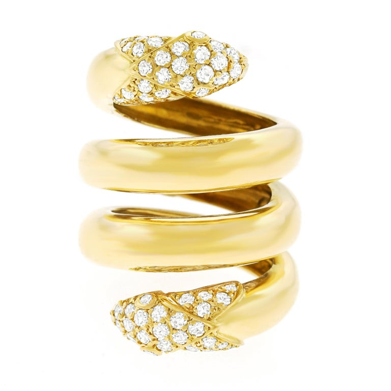 Modernist Christian Dior 1960s Diamond Set Gold Snake Ring For Sale