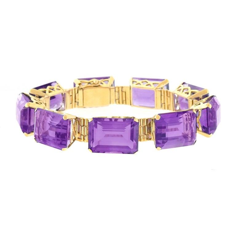 Retro 1940s Amethyst set Gold Bracelet