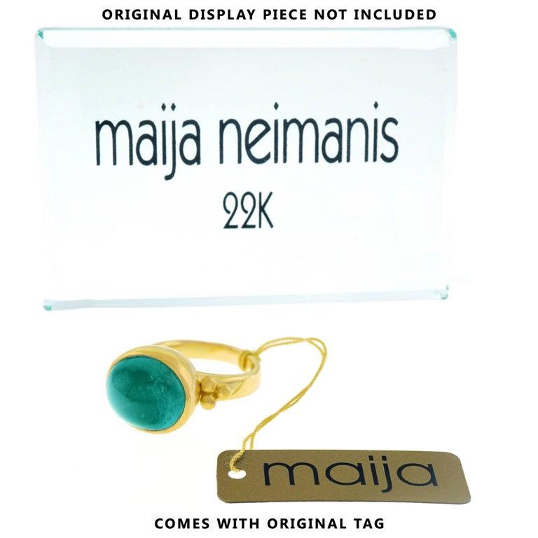 Maija Neimanis Blue Green Tourmaline Cabochon Ring For Sale 1