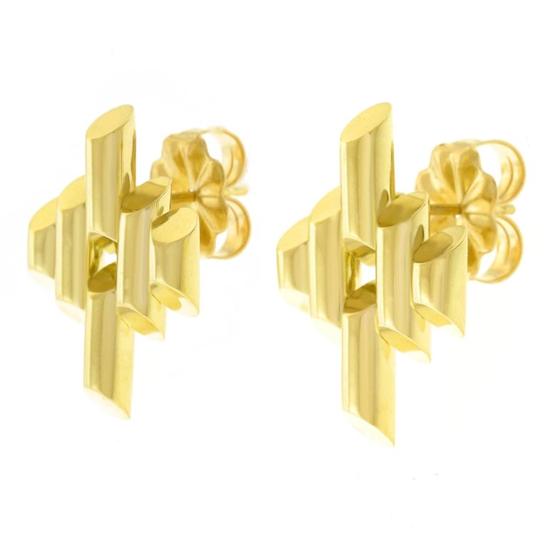 Tiffany and Co. Art Deco Gold Earrings In Excellent Condition For Sale In Litchfield, CT
