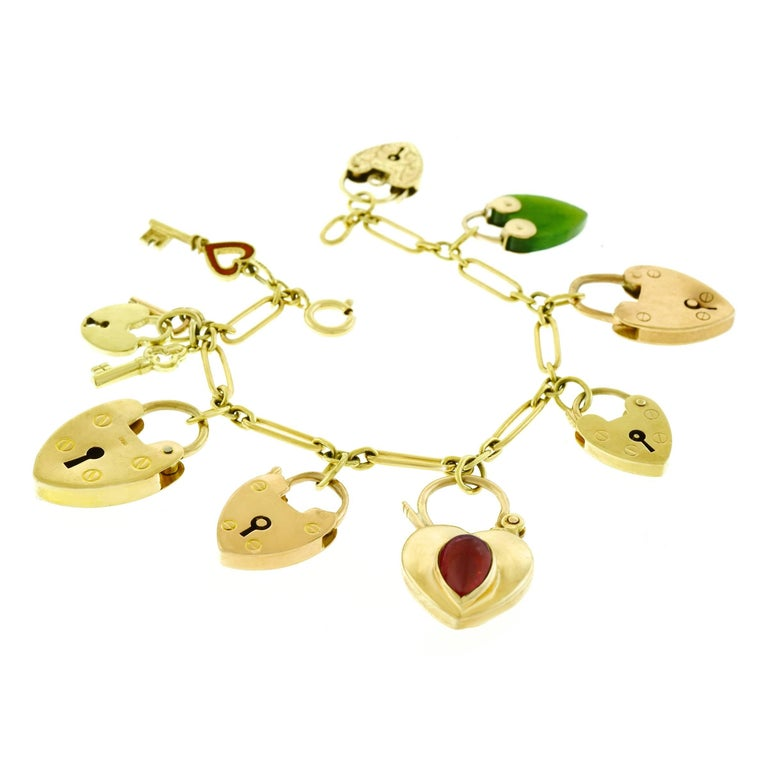 Antique Heart Locks and Keys Gold Charm Bracelet For Sale 3