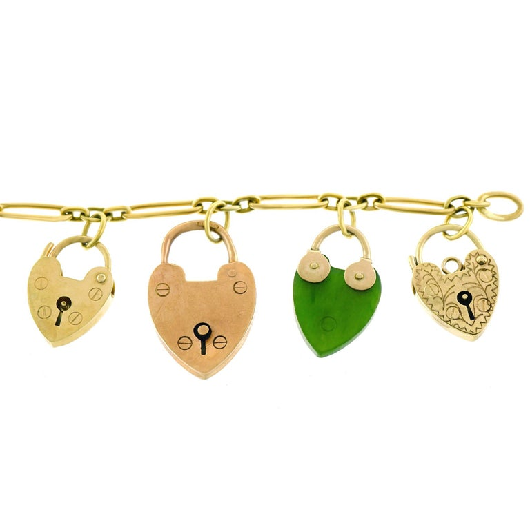 Antique Heart Locks and Keys Gold Charm Bracelet For Sale 4