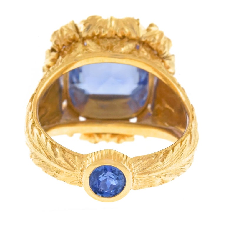 Art Deco Sapphire Set Gold Ring GIA No Heat For Sale 1