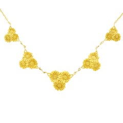 Arts & Crafts Floral Motif Gold Necklace