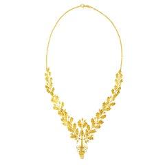 Art Deco Acorn and Oak Leaf Gold Necklace