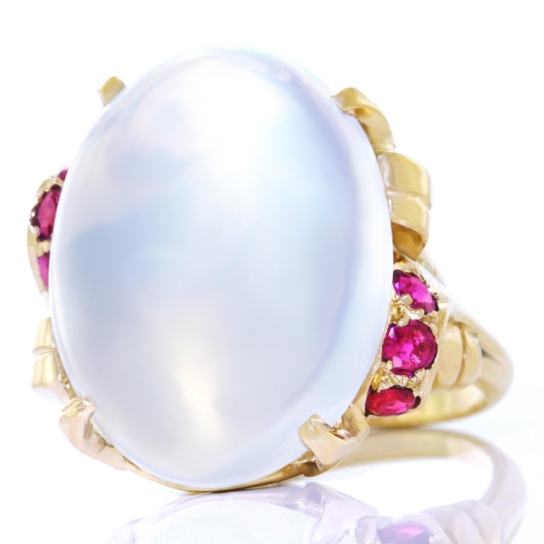 15.67 Carat Moonstone and Ruby Set Gold Ring For Sale 5