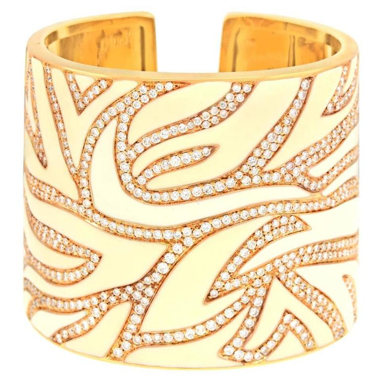 Elegant White Enameled Gold Cuff with 12.0cttw of Diamonds 1