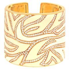 Elegant White Enamel Diamond & Gold Cuff