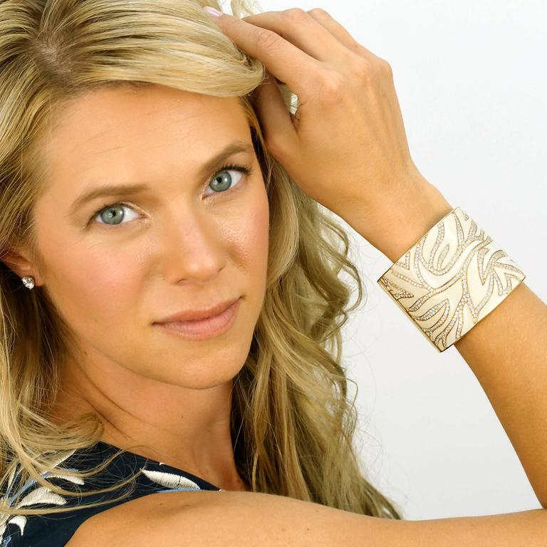 Elegant White Enameled Gold Cuff with 12.0cttw of Diamonds 2