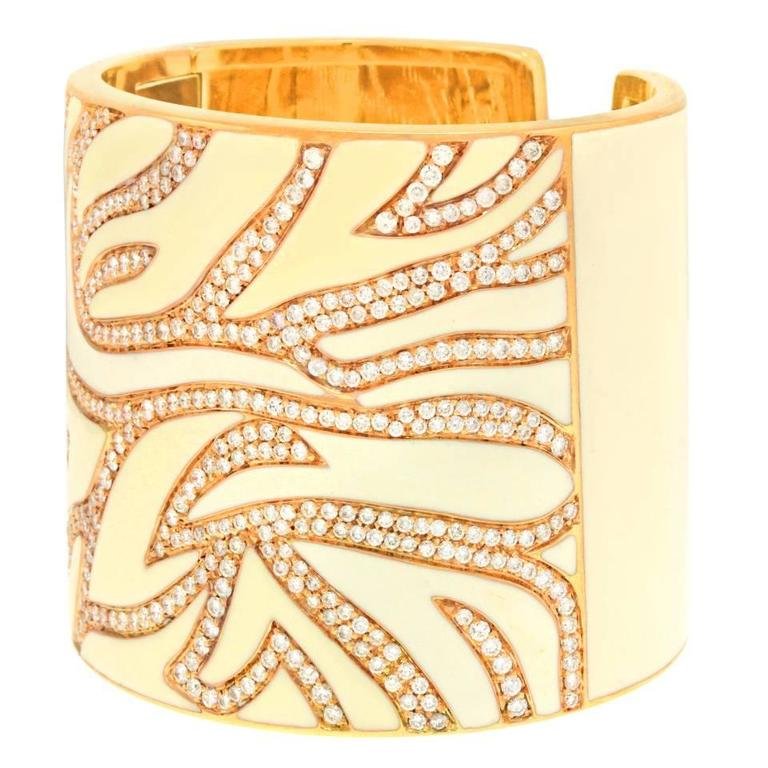 Elegant White Enameled Gold Cuff with 12.0cttw of Diamonds 3