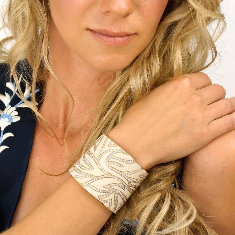 Elegant White Enameled Gold Cuff with 12.0cttw of Diamonds 4