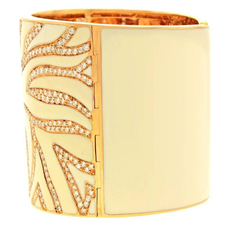 Elegant White Enameled Gold Cuff with 12.0cttw of Diamonds 7