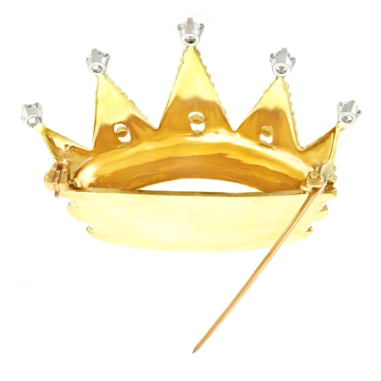 Tiffany & Co. Diamond Set Gold Crown Brooch For Sale 2