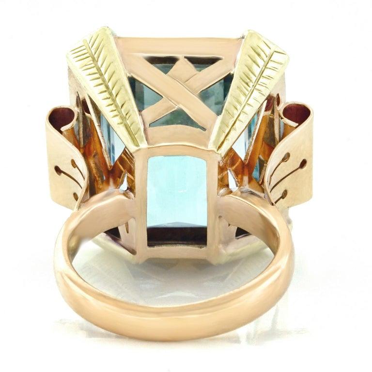 Art Deco 20.50 Carat Aquamarine Set Gold Ring For Sale 1
