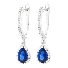 Sapphire and Diamond Set Gold Drop Earrings