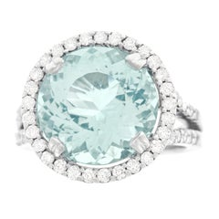 8.0 Carat Aquamarine and Diamond Gold Ring