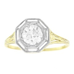 Art Deco Diamond and Gold Ring .74 Carat E Color VS2 GIA