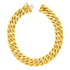 Art Deco Chunky Link Gold Necklace