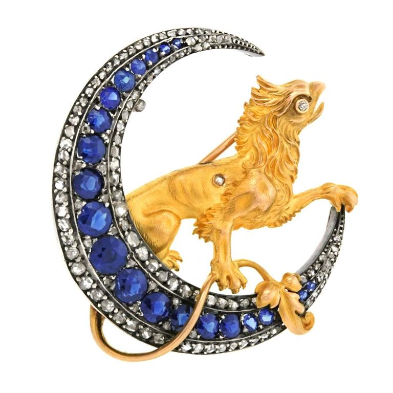 French Renaissance Revival Sapphire Diamond Brooch 3