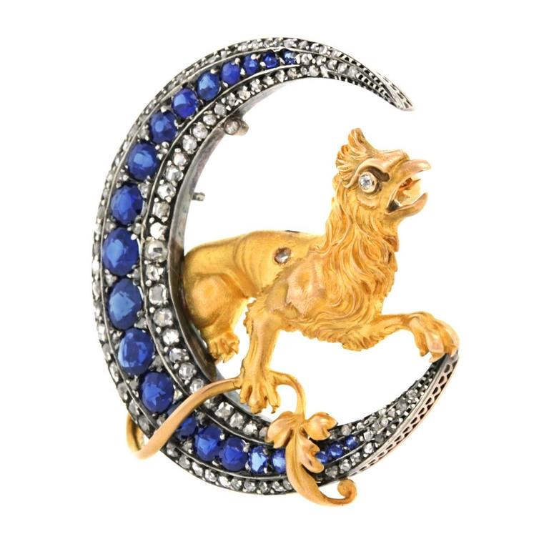 French Renaissance Revival Sapphire Diamond Brooch 7