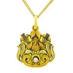 Austrian Plique-a-Jour Enamel and Diamond Set Gold Pendant