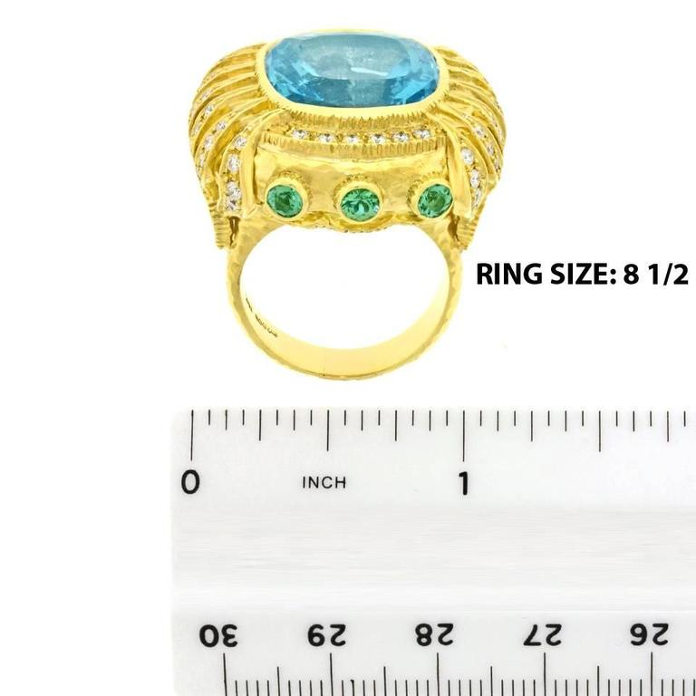 Gorgeous Organic Motif Aquamarine Diamond Gold Ring 6