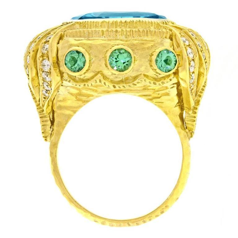 Gorgeous Organic Motif Aquamarine Diamond Gold Ring 9