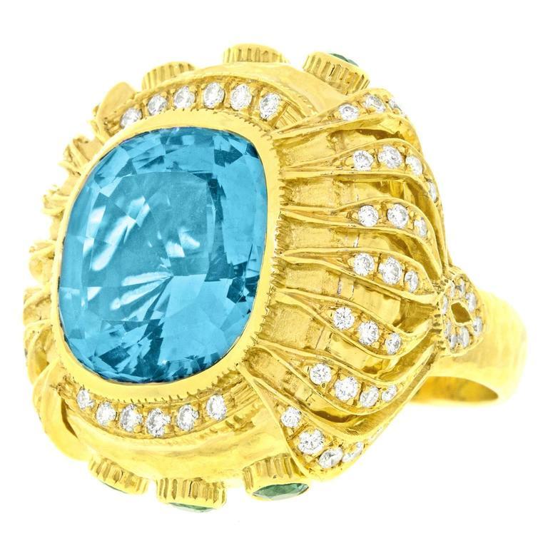 Gorgeous Organic Motif Aquamarine Diamond Gold Ring 1