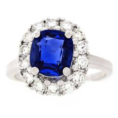 2.53 Carat No Heat Burma Sapphire and Diamond set Gold Ring