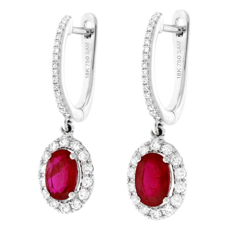 Contemporary Ruby and Diamond Drop Earrings For Sale
