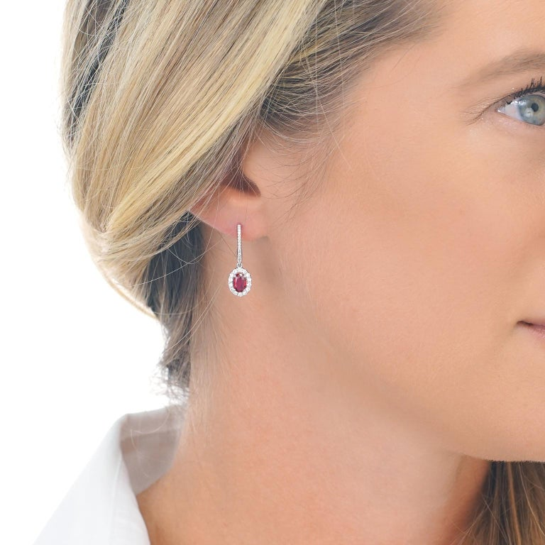 Ruby and Diamond Drop Earrings In Excellent Condition For Sale In Litchfield, CT