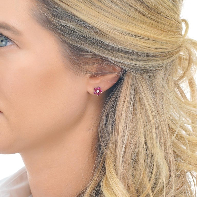 Women's Spark Ruby and Diamond Set Gold Flower Earrings For Sale