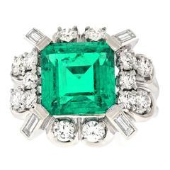 4.0 Carat GIA Columbian Emerald Diamond  Gold Ring