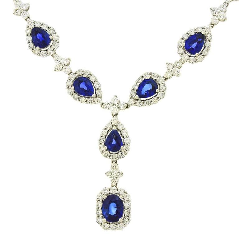 Stunning Gregg Ruth Sapphire & Diamond White Gold Necklace 3